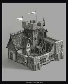 World Building concept. structure. keep. castle. prison. guardhouse. by mikrob.deviantart.com on @deviantART