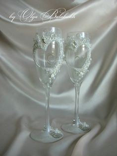 Romantic Wedding champagne glasses by ArtsLux on Etsy, $55.00