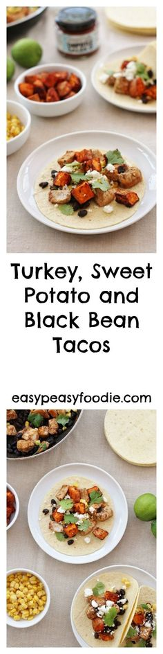 Stuck for ideas for your leftover turkey? Want to do something tasty, but also quick and easy? Want something other than turkey curry or turkey sandwiches this year? Then why not try my Turkey, Sweet Potato and Black Bean Tacos? (Can also be made with fresh turkey fillets) #turkey #turkeytacos #leftoverturkey #leftoverturkeytacos #leftovers #boxingdayleftovers #christmasleftovers #easypeasyfoodie #cookblogshare