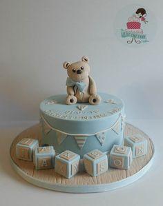 Teddy Bear Bunting Christening Cake www.littlecakefairydublin.com www.facebook.com/littlecakefairydublin Baby Shower Cakes, Bunting, Christening, Teddy Bear, Facebook, Birthday, Desserts, Food, Cakes Baby Showers