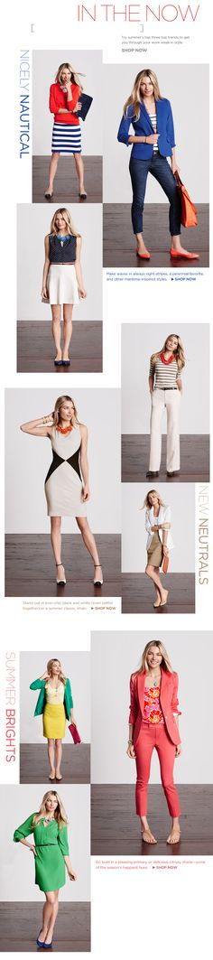 love the 2 nautical pants looks and the green dress