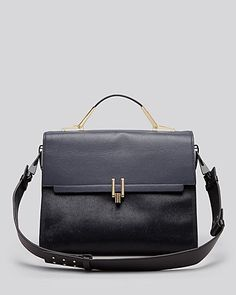 beautiful navy and black leather and calfhair satchel {20% off during the friends and family sale right now!}