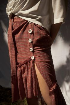 Chic and ethical wrapped skirt features raw edged applied ruffles, asymmetrical button closure and a flattering waist cord closure. Frill Shirt, Summer Lookbook, Sustainable Fashion, Ruffles, Midi Skirt, Plaid, Chic, Skirts, Button