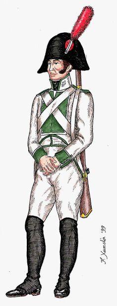 """Asturias régiment n ° 26"""" . 1808 - infanterie de ligne. Fusilier Regiment"""