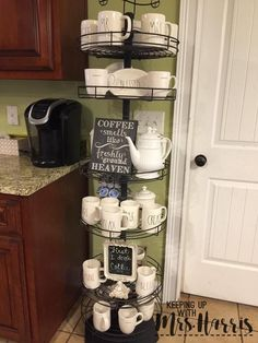 Best DIY Coffee Station Ideas For All Coffee Lovers – Bethany Martin – B… – Salina Mort - Home Coffee Stations Coffee Area, Coffee Nook, Coffee Bar Home, Coffee Corner, Coffee Cups, Coffee Bar Station, Home Coffee Stations, Keurig Station, Tea Station