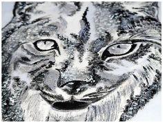 Iberian Lynx hand-painted t-shirt, detail https://www.facebook.com/AllStuffStudioArt