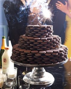 Cool Cookie Cake - In lieu of a traditional dessert tray, Kevin opted for a whimsical stacked Oreo tower -- complete with sparkler candles.
