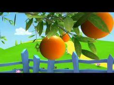 Laranja: aprender frutas com crianças, desenhos animados