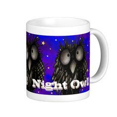 Night Owl by Paul Stickland for StrangeStore #owls #funny #strangestore Available here ► www.zazzle.com/night_owl_coffee_mug-168285140747385015?rf=238175107415881712&tc=pin