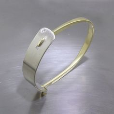 Item #22310140: Two-Tone Diamond Bangle w/ Side Hinge Mechanism, 18kt Yellow & 14kt White Gold