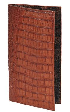 60bc5e186555 ID#THN9128 Wallet ~ billetera ~ CARTERAS Cognac Genuine crocodile skin Check  Book Holder Wallet