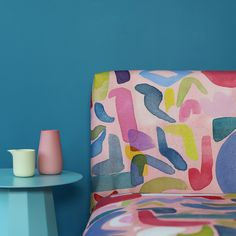 Make a design statement with our Play Fabric, which is perfect for curtain making or upholstery. Enjoy these lovely soft geometric shapes on coral background, inspired by the work of Matisse. Browse our new season fabrics today. Cactus Fabric, Teal Fabric, Floral Fabric, Bluebellgray, Modern Prints, Fabric Panels, Colour Schemes, Geometric Shapes, Fabric Design