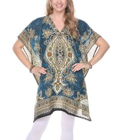 Look at this Ananda's Collection Teal Paisley Cape-Sleeve Tunic on #zulily today!