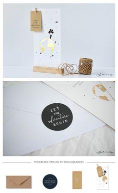 Stoer geboortekaartje voor Natalie Vijfhuizen met gouden wereldbol en labeltje. Mooi met bijpassende sluitsticker