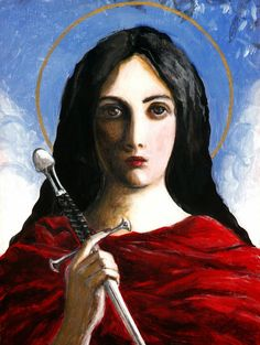 """Confident in thy powerful intercession, / we beseech thee, Saint Dymphna / to comfort all who, burdened by mental anguish or confusion, / struggle daily to make their way in this valley of tears. / Give them a garland for ashes, / the oil of joy for sadness, / and a garment of praise for the spirit of grief"" -from 'Supplica to Saint Dymphna,' Fr. Kirby. / Painting of St. Dymphna by Lis Wright Ivec. https://www.etsy.com/listing/155973540/saint-dymphna-icon-painting?ref=market&show_panel=true"