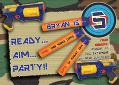 Nerf banner printable nerf party happy birthday by prtskindigital fun personalized or nerf gun camo birthday invitation in hi res jpeg or pdf format you can choose options with or without photo stopboris Images