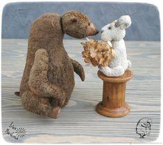 Купить Мишка Skittle и его зайка - тедди, медведь, любовь, подарок, заяц, медведь тедди