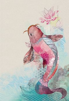 Illustrations by Amália Lage, via Behance If I ever get a koi tattoo I want it to be like this. . .beautiful.