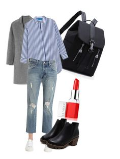 A fashion look from January 2017 featuring blue and white striped shirt, car coat and ripped jeans. Browse and shop related looks. Fashion Moda, Daily Fashion, Trendy Fashion, Womens Fashion, Modest Fashion, Hijab Fashion, Fashion Outfits, Fashion Fashion, Noora Skam Style