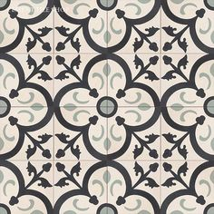 Cement Tile Shop - Encaustic Cement Tile Orleans Sage - switched out sage to army green for under tub Entryway Tile Floor, Foyer Flooring, Charcoal Bathroom, Sage Green Kitchen, Ceramic Floor Tiles, Cement Tiles, Encaustic Tile, Painted Floors, Tile Patterns