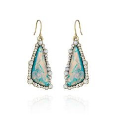 "38dol. Bora Bora Drop Earrings:◾antique brass-plated ◾nickel-free plating ◾1.75"" approx. drop length ◾french wire ◾clear + white opal crystal, opalescent resin INSANE shimmer; just bought these and am officially obsessed with this collection/ chloeandisabel.com/boutique/pattyk"