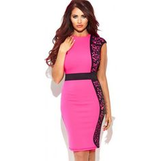 26dd7bbb039 Pink OL Style Pencil Dress with Black Joint Edge Lace Dress