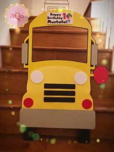 """Photobooth bus prop  20""""x30"""" Wheels on the bus party theme Birthdays Handcrafted"""