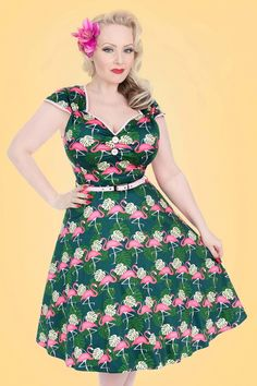 Retro Style Dresses 50s Isabella Fabulous Flamingo Swing Dress in Green £57.71 AT vintagedancer.com