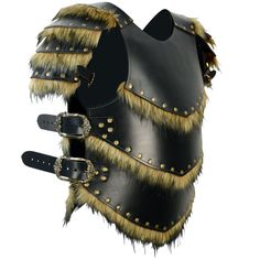 Exude the spirit of a barbarian and strike fear into your enemies with the Savage Warrior Leather Armour with Pauldrons. This armour protects your chest and shoulders with its medium weight, plated leather design with faux fur trim.