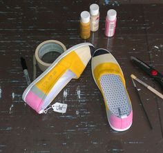 shoes fun Classic Yellow No. 2 Pencil Shoes or Notebook Paper Shoes. Hand painted canvas shoes for teachers and kids. Art Teacher Outfits, Teacher Shoes, Teacher Wardrobe, Teacher Style, Teacher Gifts, Teacher Fashion, Teacher Wear, Teacher Clothes, Pencil Shoes