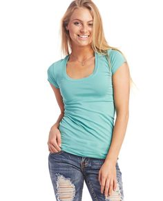 "<p>Whether you layer it up or wear it alone, this basic scoop tee is both comfy and flattering! It has a stretchy knit body in a solid color, a scoop neckline, and short sleeves.</p>  <p>Model is 5'9"" and wears a size small.</p>  <ul> 	<li>95% Cotton / 5% Spandex</li> 	<li>Machine Wash</li> 	<li>Imported</li> </ul>"