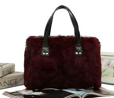 Sheepskin Leather Womens tote Handbag with Rabbit fur