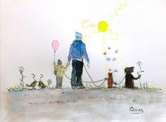 """watercolor....acuarela....22,5 x 30,5 cm. Saatchi Art Artist OSCAR ALVAREZ; Painting, """"UN SOL PARA TODOS...VII"""" #art"""