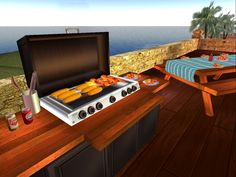 Have the best outdoor barbecue party with your Party Grill and Picnic Party Table. Bbq Grill, Barbecue, Grilling, Bbq Table, Picnic Table, Outdoor Decor, Party, Home Decor, Bar Grill