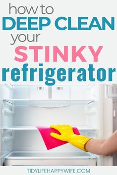 Refrigerator getting nasty? Here's a step by step process that shows you how to deep clean your fridge and get rid of those nasty smells for good. Household Cleaning Tips, Cleaning Checklist, Diy Cleaning Products, Deep Cleaning, Spring Cleaning, Cleaning Hacks, How To Clean Refrigerator, Refrigerator Cleaning, Cleaning Cabinets