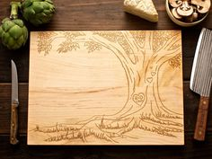 Personalized Lover's Tree, Carved Heart Engraved Wood Cutting Board -12x16- custom Wedding, Christmas or anniversary gift for foodie couple