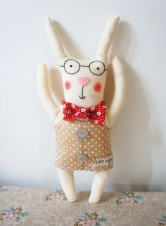 Personalised Bunny Rabbit Art Doll with handmade waistcoat,dickie-bow and personalised name tag. on Etsy, $37.61