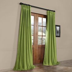 Shop for Exclusive Fabrics Fern Green Solid Faux Silk Taffeta Curtain Panel. Get free delivery On EVERYTHING* Overstock - Your Online Home Decor Outlet Store! Silk Curtains, Striped Curtains, Cool Curtains, Panel Curtains, Emerald Green Curtains, Patio Door Drapes, Custom Drapes, Silk Taffeta, New Living Room