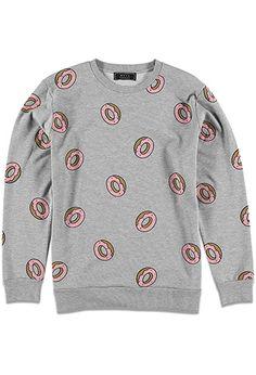 Heathered Donut Print Sweatshirt   21 MEN - 2000098519 Printed Sweatshirts,  Mens Sweatshirts, 21men 4d02b6723907