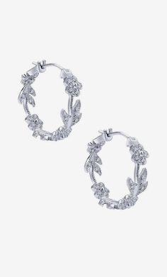 14k White Gold Floral Hoop Earrings