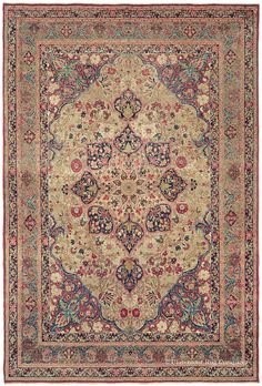 LAVER KIRMAN - Southeast Persian, 7ft 10in x 11ft 5in, Circa 1875. This collector's rug features a rare burnished gold field that sets off a masterful palette of masterfully vegetable dye colors, including rich ruby and Renaissance reds, turquoise and powder blue. At over 125 years of age, this 19th century antique oriental carpet's condition is superb.