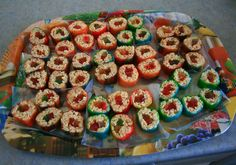 Rice Crispy Sushi! My FAVORITE party treat! I use the colorful licorice and you can substitute Fruit by the foot instead of Fruit roll ups to make it even easier! Always a hit!