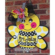 Personalized Bumble Bee Door Hanger Sign by SparkledWhimsy on Etsy, $45.00