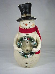Primitive Folk Art Chief Christmas Snowman 22192 by David NIB 2011