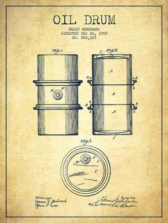 Oil Poster featuring the drawing Oil Drum Patent Drawing From 1905 by Aged Pixel