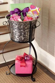 Great idea...gifts in a party bucket! via http://athomewithwillowhouse.tumblr.com/post/13794688065/the-graymont-party-bucket-with-its-gorgeous
