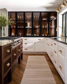 Kitchen Interior, New Kitchen, Kitchen Design, Kitchen Decor, Gold Kitchen, Kitchen White, Farmhouse Interior, Rustic Farmhouse, Custom Home Builders