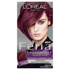 Best box color on the market: I will use only this, religiously, unless it is (unwisely) discontinued. If you started out as a brunette or auburnette and you like the idea of having plum-burgundy hair that shines and vibrates with health and vigor, USE THIS! L'Oréal Paris Feria Multi-Faceted Shimmering Color  - V48 Violet