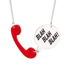 Original Jewellery Handmade in the UK Funky Jewelry, Jewelry Art, Handmade Jewelry, Jewelry Necklaces, Red Necklace, Dog Tag Necklace, Telephone Call, Devine Design, Tatty Devine