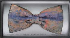 Monet's Impression Sunrise Hand painted Bow Tie By John Kirwan Available at The Keeling Gallery Dublin, Ireland Magritte, Bow Ties, Monet, Van Gogh, Art History, Miniatures, Bows, Hand Painted, Dublin Ireland